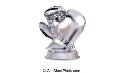 Boxing Silver Trophy in Infinite Rotation with a white...
