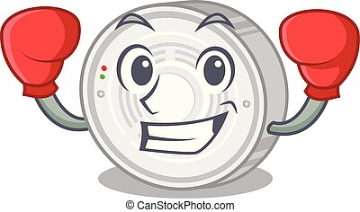 Boxing smoke detector attached the character wall vector...