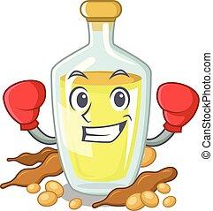 Boxing soybean oil put in cartoon bottle