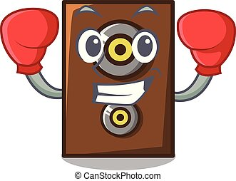 Boxing speaker character cartoon style