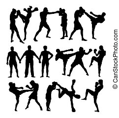 Boxing Sport Activity Silhouettes