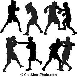 Boxing sport - Boxing Silhouette on white background