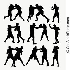 Boxing sport silhouettes