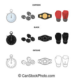 Boxing, sport, stopwatch, watch Boxing set collection icons in cartoon, black, outline style bitmap symbol stock illustration web.