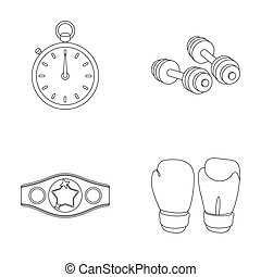 Boxing, sport, stopwatch, watch Boxing set collection icons in outline style raster, bitmap symbol stock illustration web.
