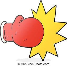 boxing, spotprent, handschoen