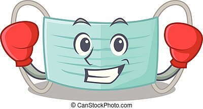 Boxing surgical mask isolated with the mascot vector illustration