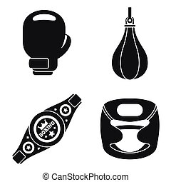 Boxing tool icons set, simple style