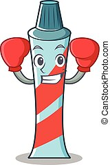 Boxing toothpaste character cartoon style