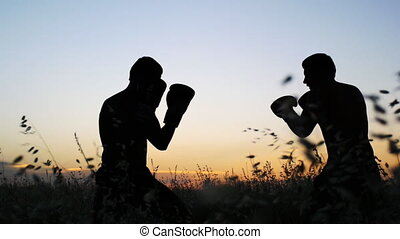 Boxing training outdoors