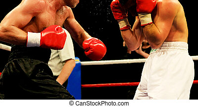 Boxing - two boxers during the boxing match