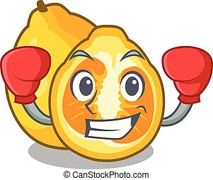 Boxing ugli fruit above the cartoon table vector...
