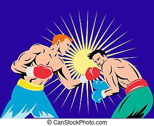 Boxing uppercut with yellow sunburst - Illustration of two...