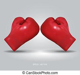 boxing, /, vector, handschoenen, illustratie, rood