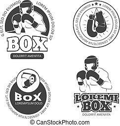 Boxing vector retro labels set
