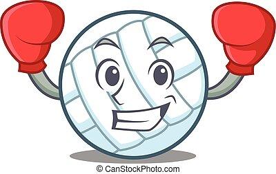Boxing volley ball character cartoon vector illustration