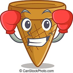 Boxing wafer cone character cartoon
