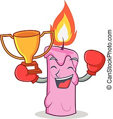 Boxing winner candle character cartoon style vector...