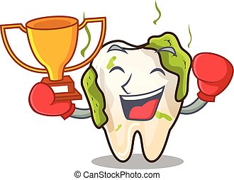 Boxing winner cartoon decayed tooth with dental caries