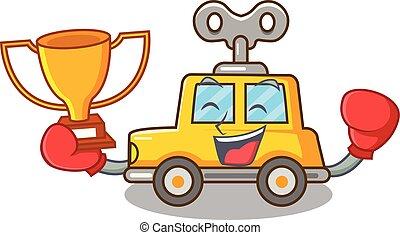 Boxing winner clockwork toy car isolated on mascot