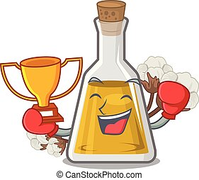 Boxing winner cottonseed oil at the cartoon table vector ...
