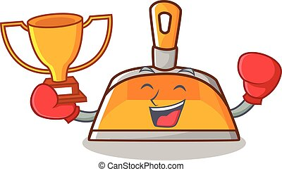 Boxing winner dustpan character cartoon style vector...