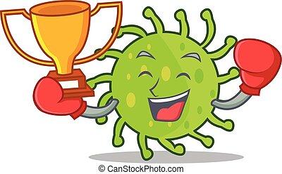 Boxing winner green bacteria mascot cartoon