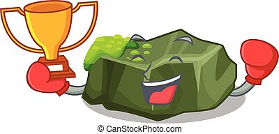 Boxing winner green rock moss isolated on cartoon