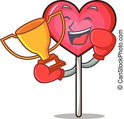 Boxing winner heart lollipop mascot cartoon vector ...