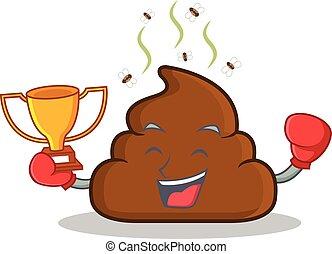 Boxing winner Poop emoticon character cartoon