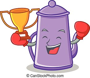 Boxing winner purple teapot character cartoon