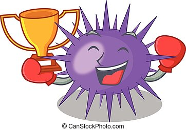 Boxing winner sea urchin isolated on a character