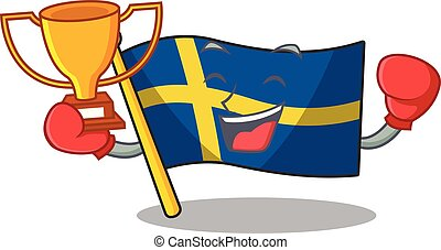 Boxing winner swede flags flutter on character pole vector ...