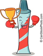 Boxing winner toothpaste character cartoon style