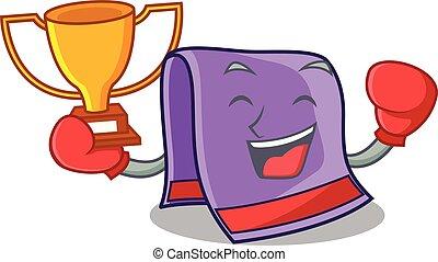 Boxing winner towel for bath mascot vector illustration