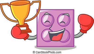 Boxing winner toy brick mascot cartoon