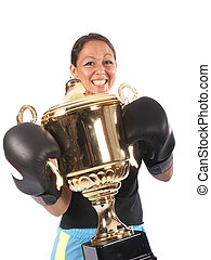boxing woman with a trophy on white background