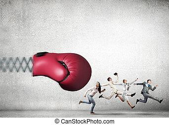 boxning, businesspeople, stridande, handske