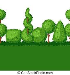 Boxwood topiary garden plants. Seamless border with ...