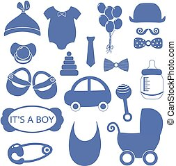 boy 18 objects clip art set. Newborn, essentials shopping list. stuff for a newborn. plan purchases for a newborn. buy set. Cribs, baby stroller, children clothing. baby shower elements. illustration