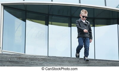 boy 7 - 8 years in sunglasses - blond child boy 7 - 8 years...