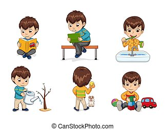 Boy Activities Collection Vector Illustration