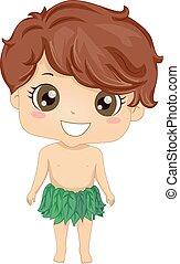 Boy Adam Costume - Bible Story Illustration of a Little Boy...