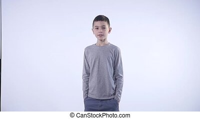 boy amazed on white background