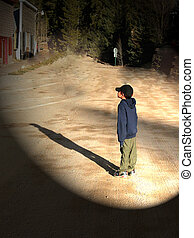 Boy amazed - Boy looking at a ghost house.