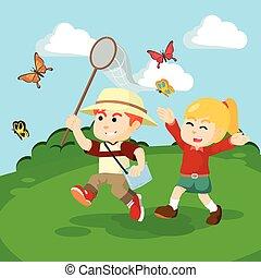 boy an girl catching butterflies to