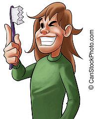 boy and a dental brush