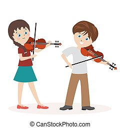 Boy and a girl are playing the violin. Music lessons. Flat character isolated on white background. Vector, illustration EPS10.