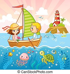 Boy and a girl are sailing on a sailboat by the sea.
