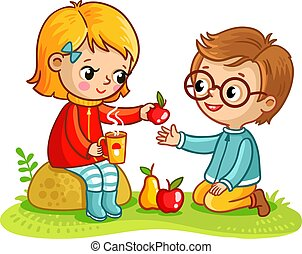Boy and a girl eat in nature.